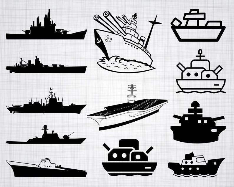 Svg bundle cut files. Battleship clipart navy boat