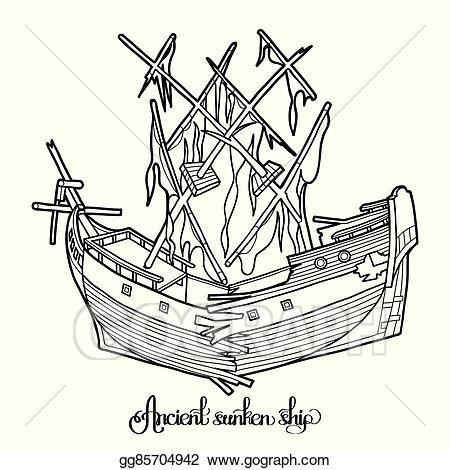 Eps illustration ancient sunken. Boat clipart underwater