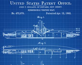 Art etsy patent print. Battleship clipart submarine us navy