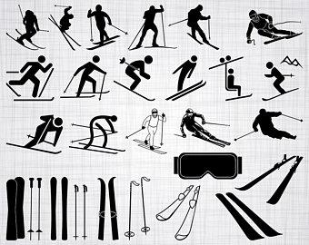 Bundle cut skiing skis. Battleship clipart svg