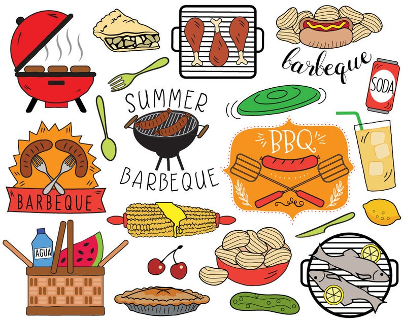 Barbecue clipart clip art. Bbq summer picnic invitation
