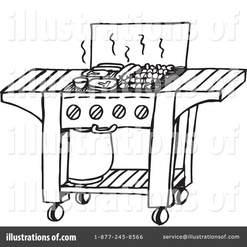 Bbq clipart black and white. Illustration by dennis holmes