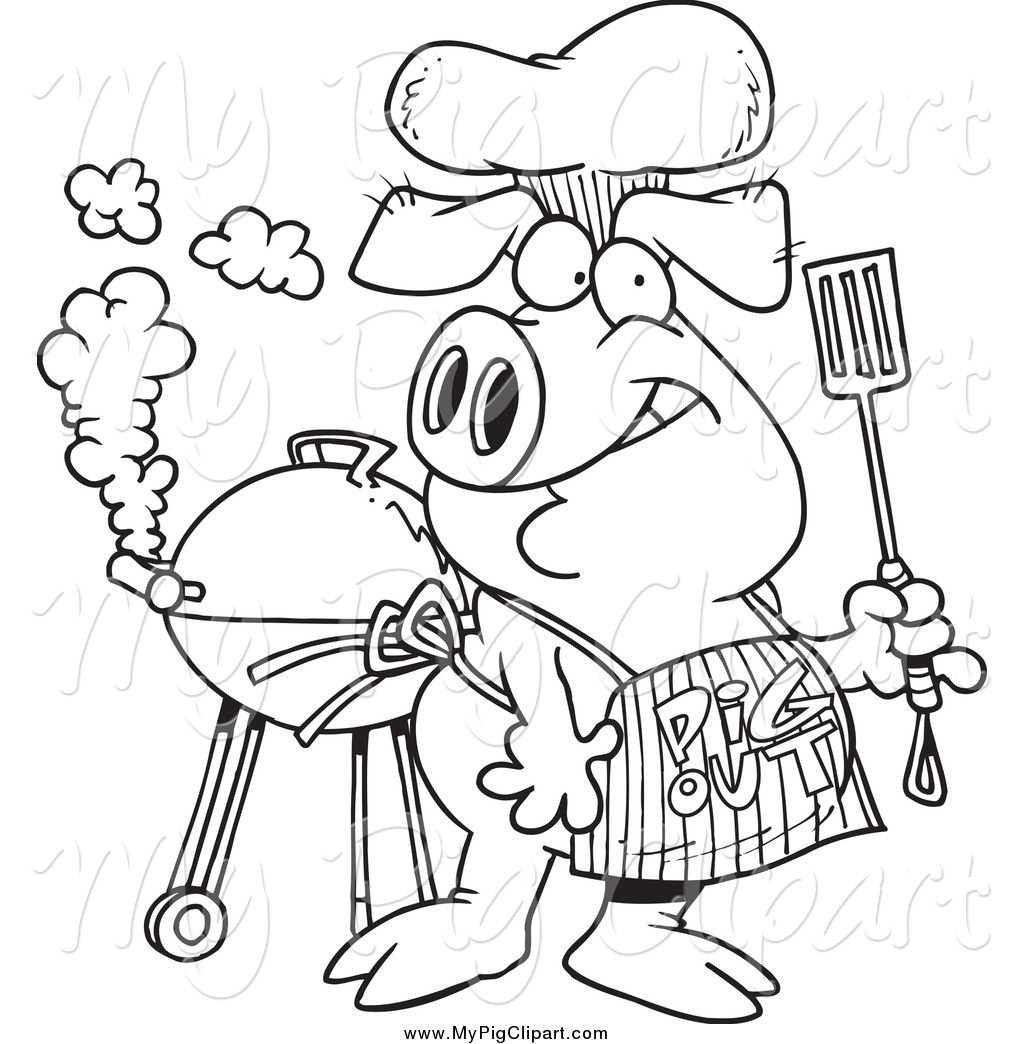 Pig . Bbq clipart black and white