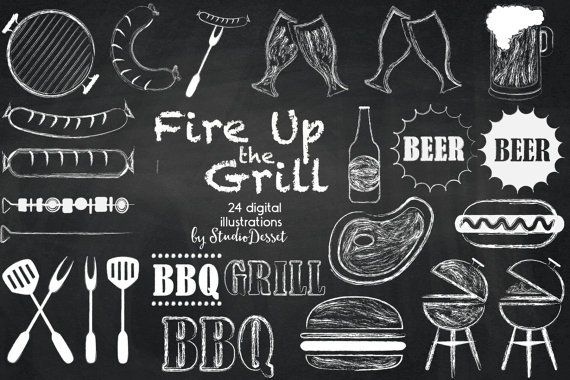 Barbeque cliparts grill digital. Bbq clipart chalkboard