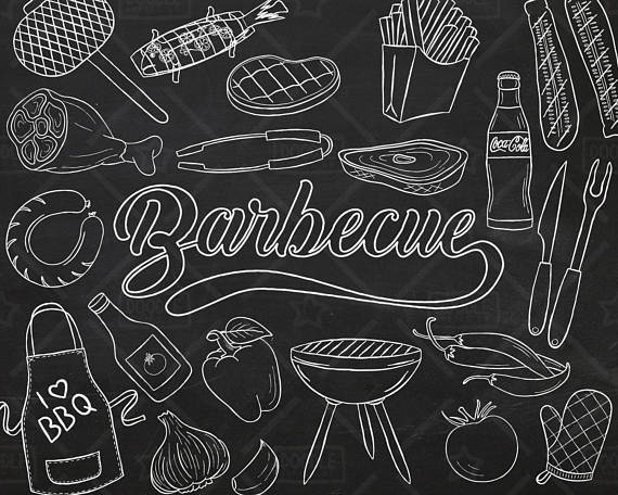 Barbecue vector pack summer. Bbq clipart chalkboard