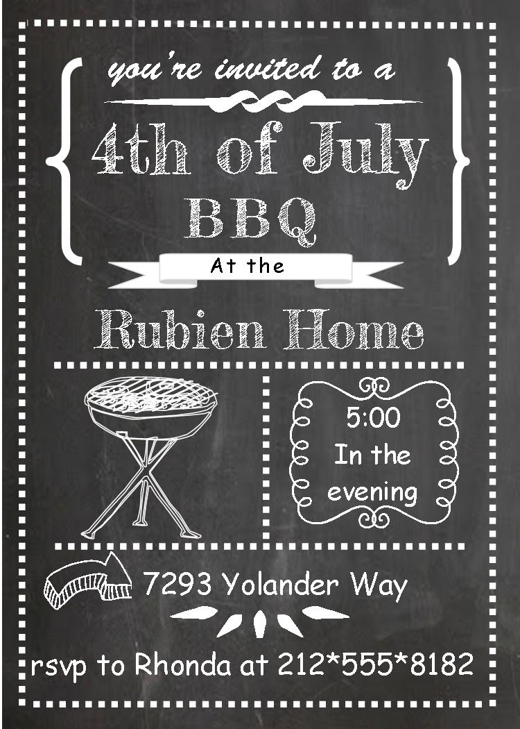 th of july. Bbq clipart chalkboard