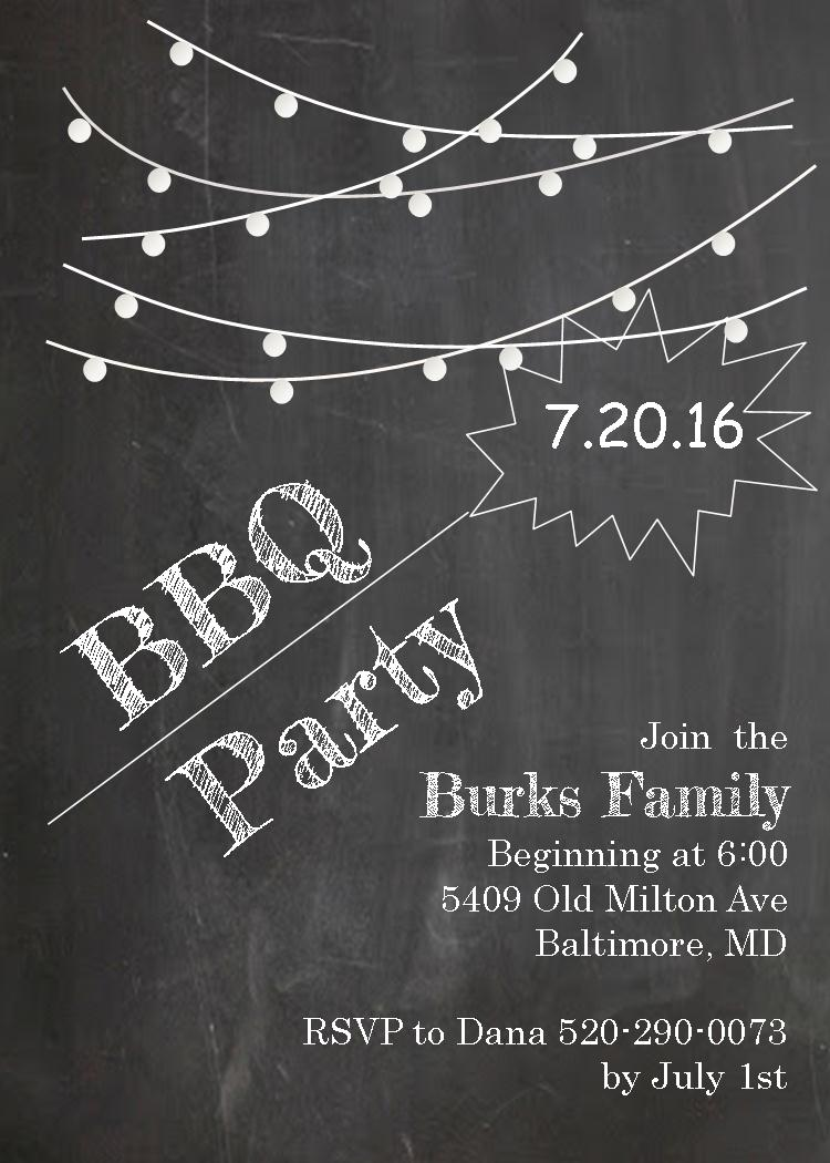 Bbq clipart chalkboard. Dinner family party invitation