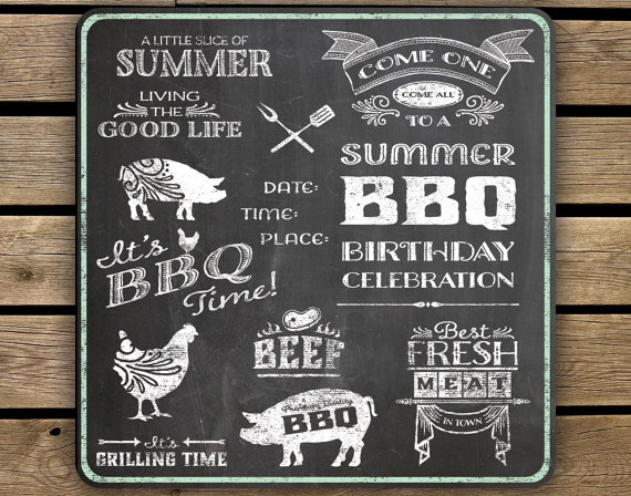 Bbq clipart chalkboard. Items similar to summer