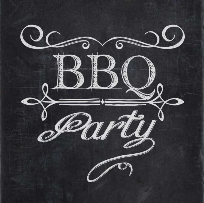 Party poster chalkboards bon. Bbq clipart chalkboard