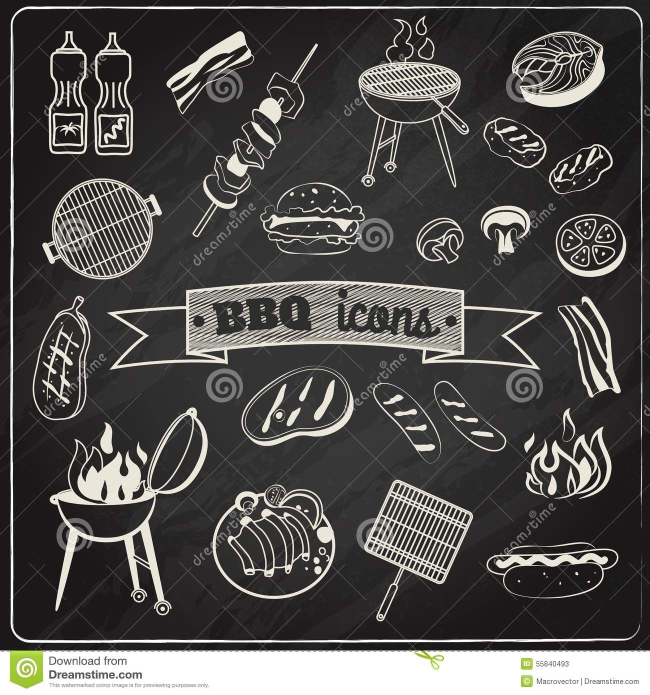 Bbq clipart chalkboard. Barbecue set download from