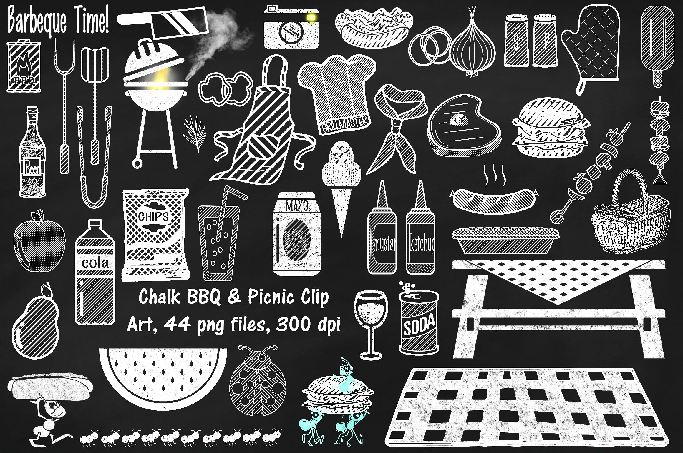 Chalk picnic illustrations creative. Bbq clipart chalkboard