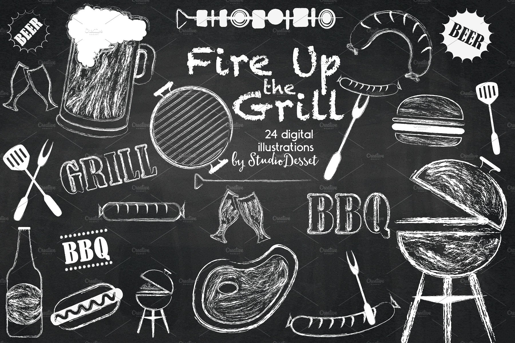 Fire up the grill. Bbq clipart chalkboard