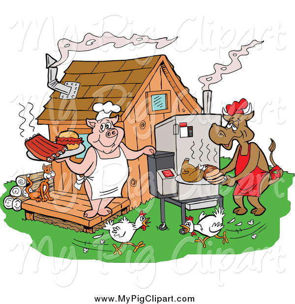 Swine of a running. Chickens clipart pig