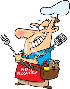 A colorful cartoon of. Bbq clipart dad