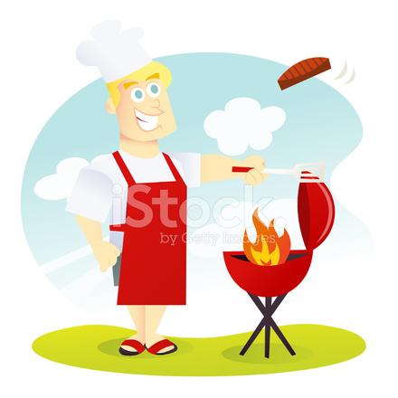 Cartoon grill stock vector. Bbq clipart dad