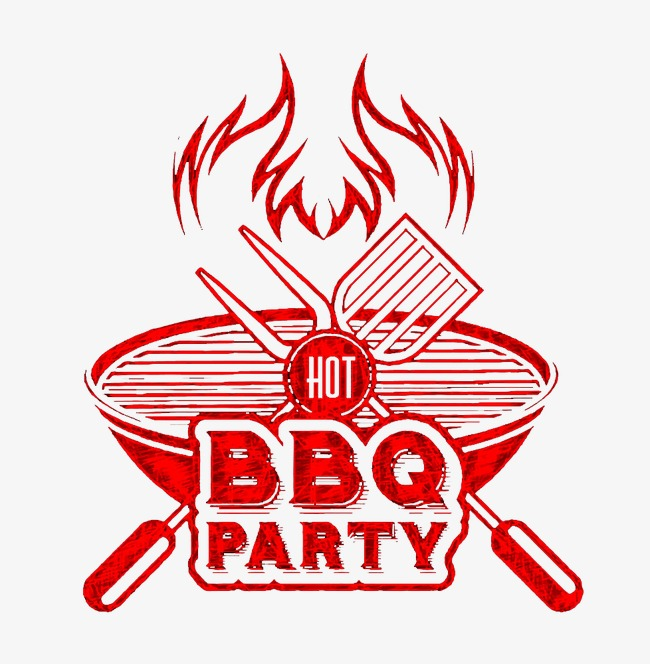 Red bbq utensils grill. Barbecue clipart flame