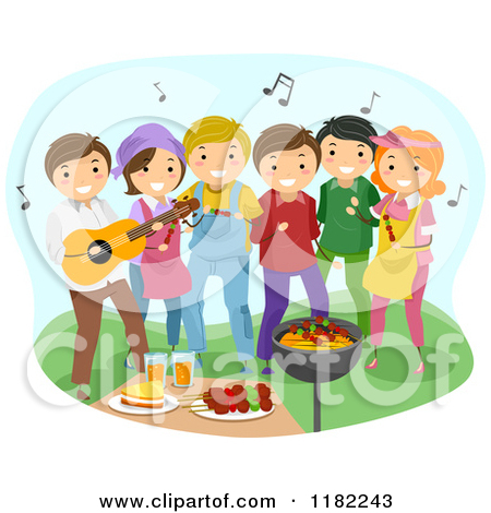 Friends clipart party. Bbq