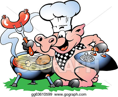Eps chef pig standing. Bbq clipart illustration