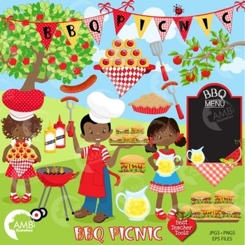 Barbecue picnic african american. Bbq clipart illustration