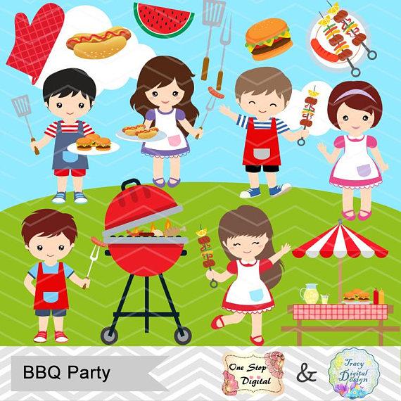 Digital bbq boys clip. Barbecue clipart kid