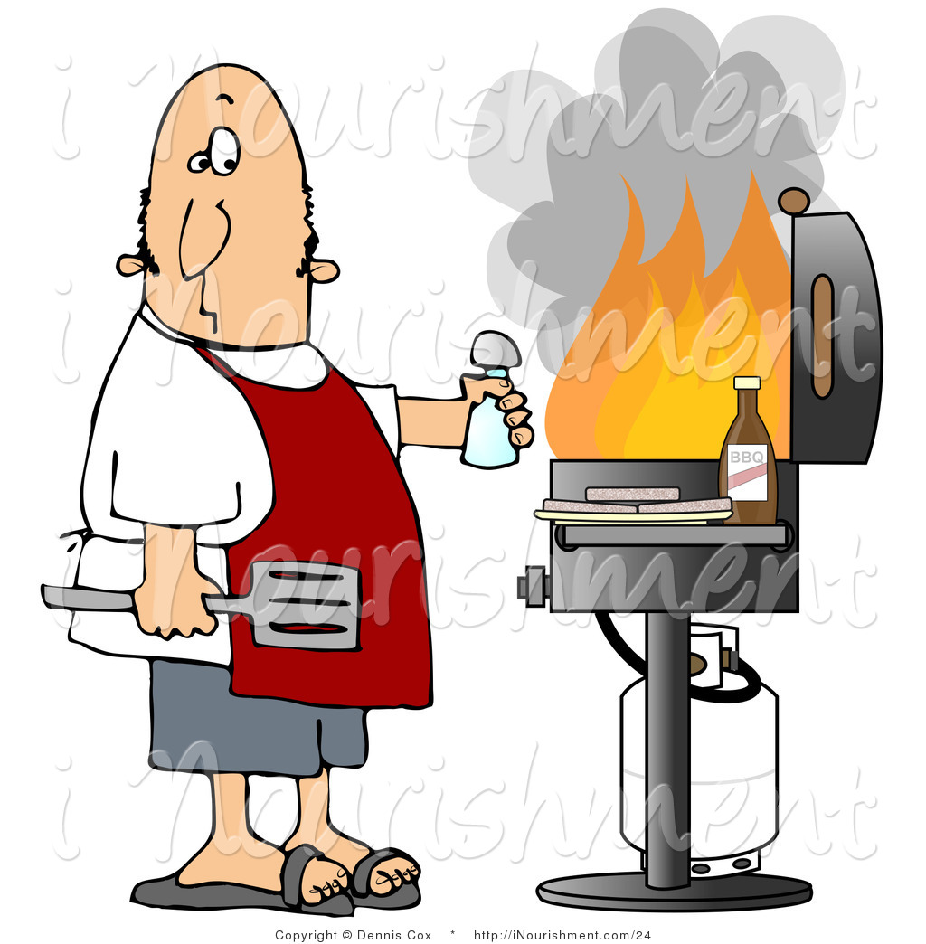 Of a man eying. Barbecue clipart flame