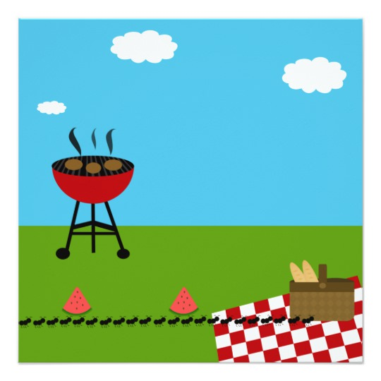 Blank invitation zazzle com. Bbq clipart picnic table