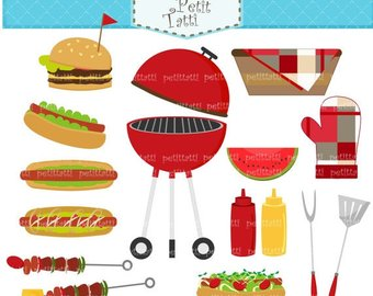 Clip art etsy on. Bbq clipart pool party