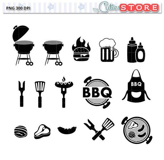 Barbecue clipart silhouette. Bbq icon set backyard