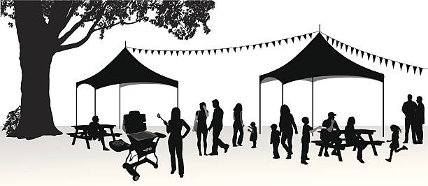Family image group clip. Bbq clipart silhouette