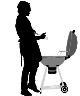 Group of friends with. Bbq clipart silhouette