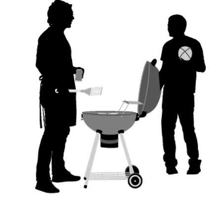 Bbq clipart silhouette. Group of friends with