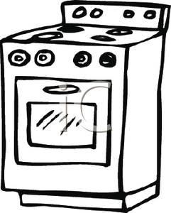 Black and white station. Bbq clipart stove