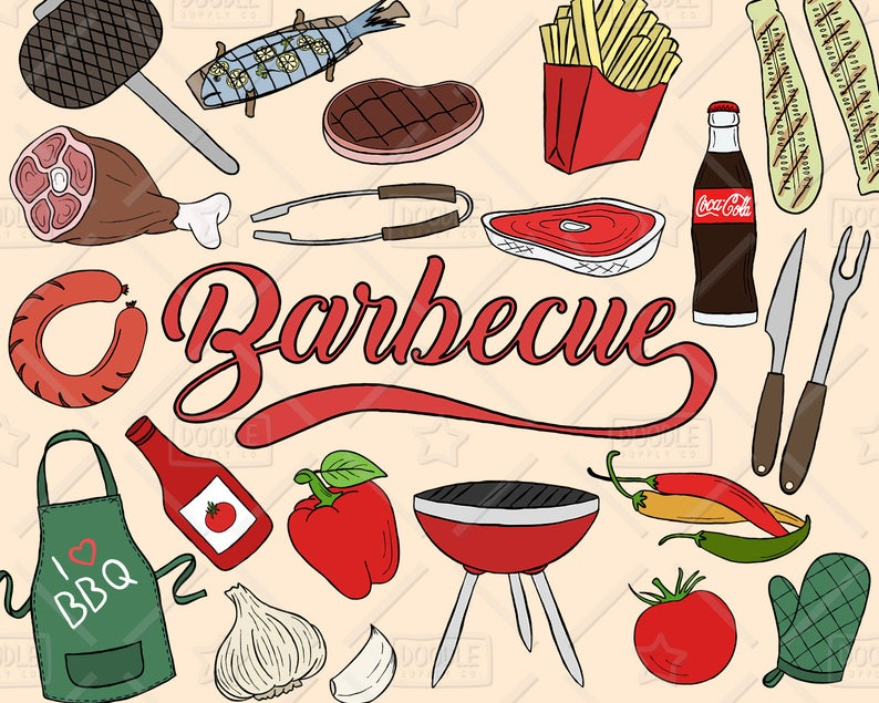 Bbq clipart vector. Barbecue pack summer weekend