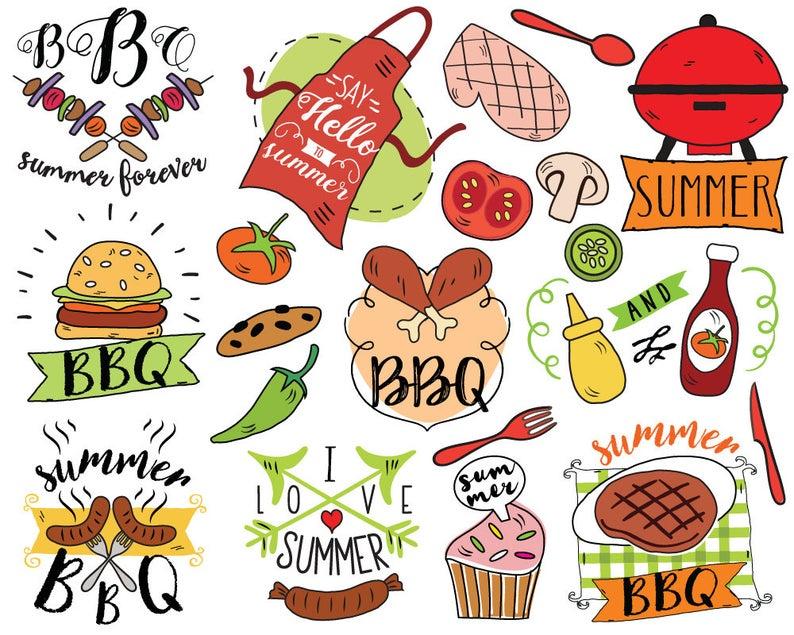 Summer barbecue doodle picnic. Bbq clipart vector