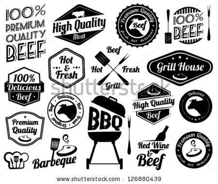 Bbq clipart vintage. Retro grill badges and