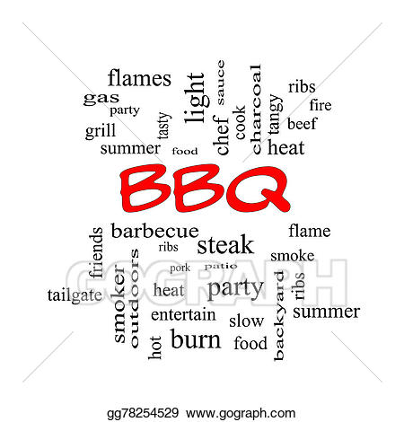 Bbq clipart word. Cloud in red caps