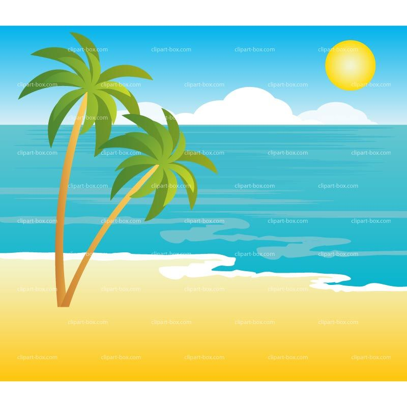 Beach clipart. Tropical landscape royalty free