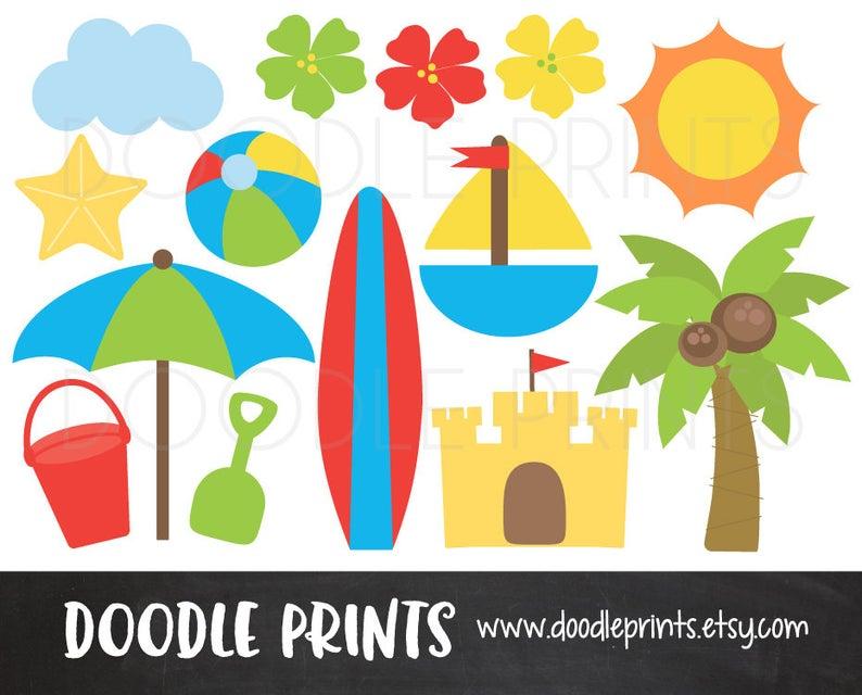 Digital clip art printable. Beach clipart