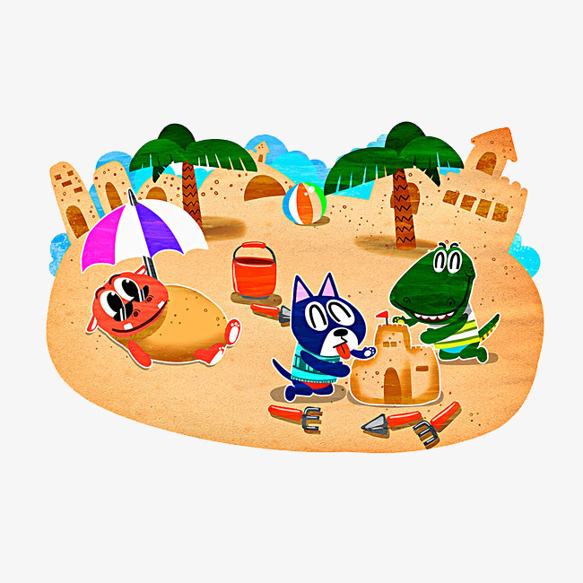 Animals clipart beach. Playing on the animal