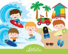 Fun time digital set. Beach clipart beach item