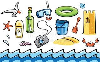 Beach clipart beach item. Cartoon summer items set