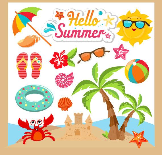 Summer clip art . Beach clipart beach item