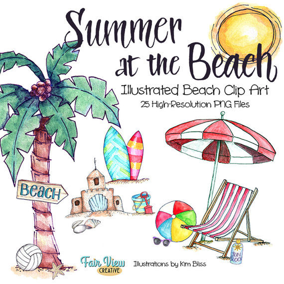 Beach clipart beach item. Summer watercolor illustrations high