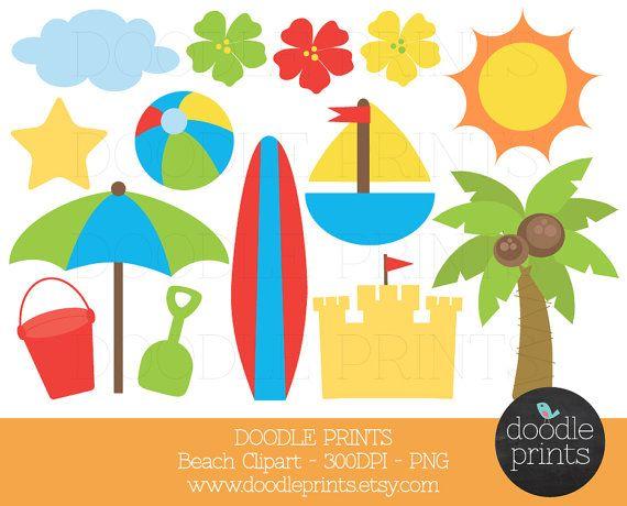 Digital clip art printable. Beach clipart beach party