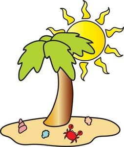 Beach clipart beach scene. Image tropical with palm