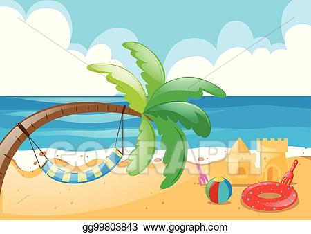Vector stock with hammock. Beach clipart beach scene