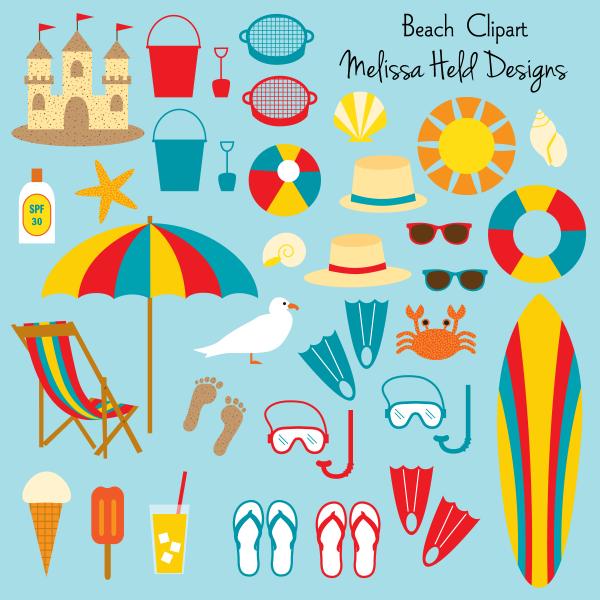 Preview digi crafting printables. Beach clipart beach stuff