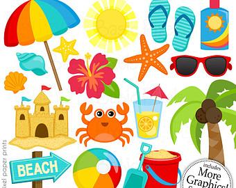 Clip art of . Beach clipart beach stuff