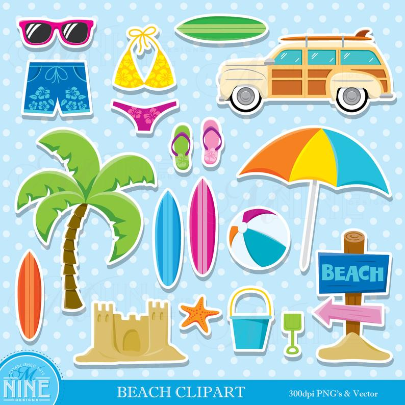 Beach clipart beach theme. Sticker clip art party