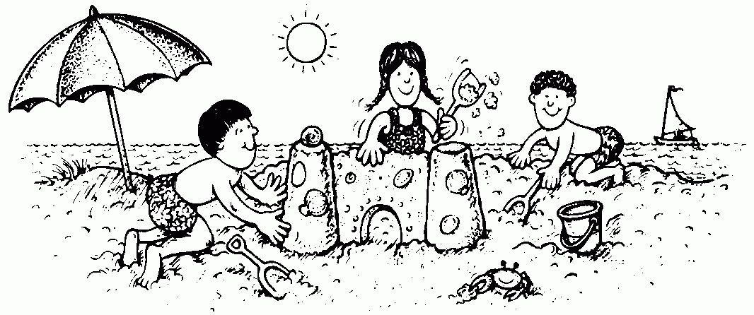 Kids at the letters. Beach clipart black and white